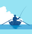 Fisherman in boat in water vector image