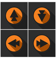 four orange round - black arrows and shadows vector image
