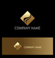 gold square abstract company logo vector image