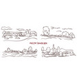 handwritten sketch set of rural landscape vector image vector image