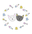 Happy cats with colorful cute fishes and squids vector image