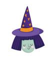 happy halloween witch with purple hat cartoon vector image vector image