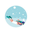 man practicing diving avatar character vector image vector image