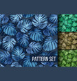 monstera leaves seamless tropical background set vector image