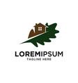 oak leaf and house logo design template vector image