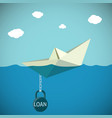 paper boat chained to the weight vector image vector image