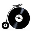 penny farthing with vinyl records vector image