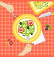 person eating fresh healthy vegetarian salad top vector image