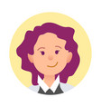 portrait of joyful woman closeup icon in circle vector image