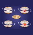 realistic pearl seashells with jewelry and vector image