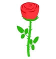 Red rose icon isometric 3d style vector image vector image