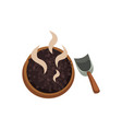 roasted coffee beans in wooden bowl vector image