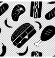seamless american fast food monochrome pattern vector image