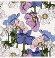 seamless pattern line colored vintage flowers vector image vector image