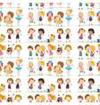 seamless pattern tile cartoon with doolde kids vector image vector image