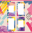 set abstract colorful templates with brush vector image