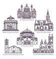 set of isolated religion churches in thin line vector image