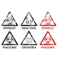 set stamp epidemic pandemic and infection vector image vector image