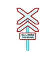 Sign rail road crossing icon cartoon style vector image vector image