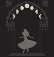 silhouette gypsy woman in gothic arch with moon vector image vector image