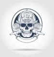 sketch fireman skull vector image vector image
