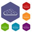 sky cloud icons set hexagon vector image vector image