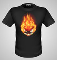 t shirts Black Fire Print man 14 vector image vector image
