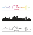 Trieste skyline linear style with rainbow vector image vector image