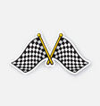 two crossed chequered racing flags on flagstaffs vector image