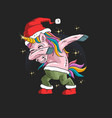 unicorn with santa hat graphic vector image vector image
