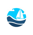 wave on boat center view design vector image vector image