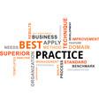 word cloud best practice vector image vector image