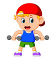 young boy doing weightlifting vector image vector image