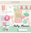 Cute set of baby shower scrapbooking elements vector image