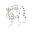 african girl linear graphic portrait vector image