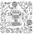 back to school banner with hand drawn line art vector image vector image