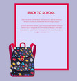 back to school banner with place for text backpack vector image