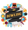 Background with bowling items Image for vector image vector image
