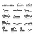 Black and white car crash icons vector image