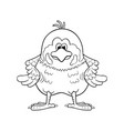 black and white funny cartoon sparrow vector image vector image