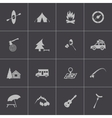 black camping icons set vector image vector image
