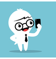 Cartoon Businessman holding smartphone and selfie vector image vector image