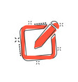 cartoon notepad edit document with pencil icon in vector image vector image