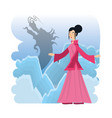 chinese culture geisha culture character vector image