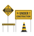 construction sign set vector image vector image
