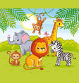 cute african animals in jungle animals in the vector image vector image