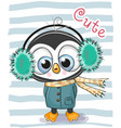 cute cartoon penguin boy in a fur headphones vector image