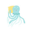 cute octopus sea creature sleeping on pillow vector image vector image