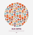 e-commerce shopping concept in circle vector image