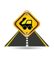 excavator truck yellow road street sign vector image
